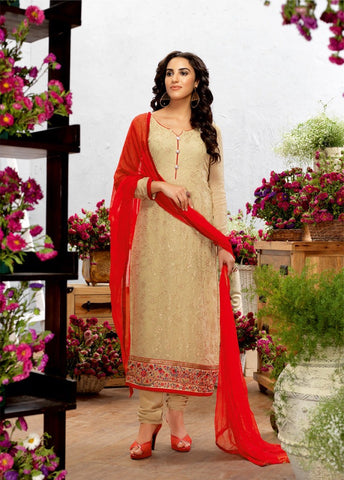 Beige Color Georgette Embroidery Semi-Stitched Designer Dress Material
