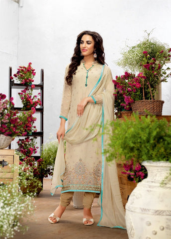 Pearl White Color Georgette Embroidery Semi-Stitched Designer Dress Material