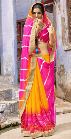 Multi Color Chiffon Silk Printed With Lace Border Saree With Chiffon Silk Blouse
