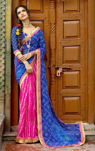 Blue & Pink Color Chiffon Silk Printed With Lace Border Saree With Chiffon Silk Blouse