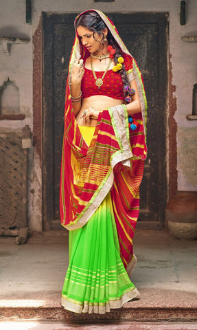 Red & Green Color Chiffon Silk Printed With Lace Border Saree With Chiffon Silk Blouse
