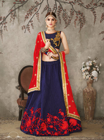 Blue Color Silk Embroidery Work Semi Stitched  Lehenga Choli