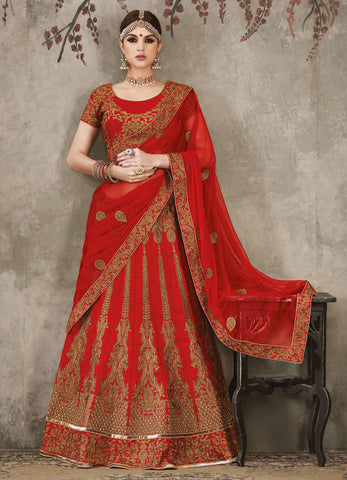 Maroon Color Silk Embroidery Work Semi Stitched  Lehenga Choli