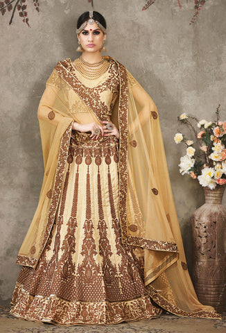 Beige Color Silk Embroidery Work Semi Stitched  Lehenga Choli