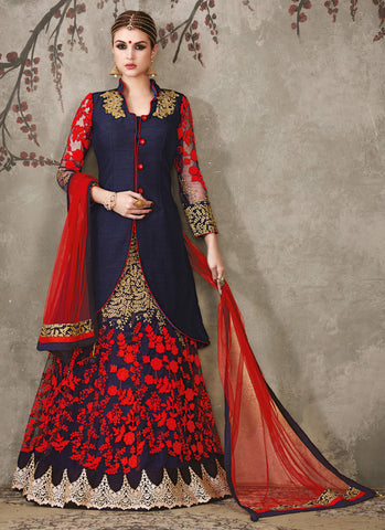 Blue Color Silk Georgette Embroidery Work Semi Stitched  Lehenga Choli