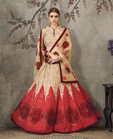 Beige Color Soft Net Embroidery Work Semi Stitched  Lehenga Choli