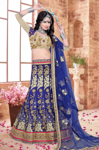 Blue Color Silk Zari,Resham,Mirror,Diamond & Heavy Lace Border Work Semi Stitched  Lehenga Choli