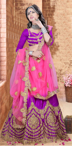 Pink & Purple Color Satin Zari,Resham,Mirror,Diamond & Heavy Lace Border Work Semi Stitched  Lehenga Choli