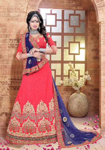 Peach Color Silk  Zari,Resham,Mirror,Diamond & Heavy Lace Border Work Semi Stitched  Lehenga Choli