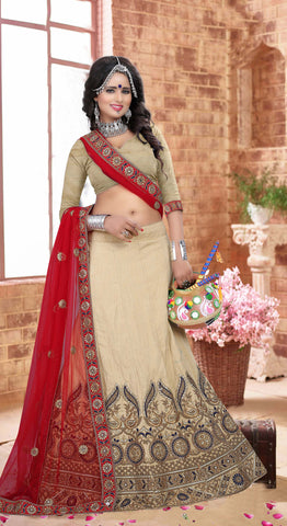 Light Fawn Color Silk  Zari,Resham,Mirror,Diamond & Heavy Lace Border Work Semi Stitched  Lehenga Choli