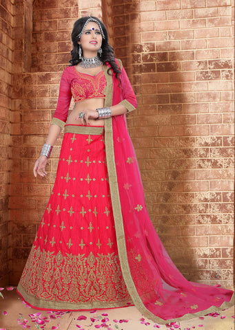 Dark Peach Color Silk  Zari,Resham,Mirror,Diamond & Heavy Lace Border Work Semi Stitched  Lehenga Choli