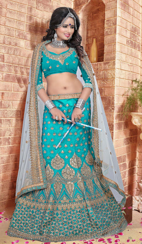 Aqua Color Silk  Zari,Resham,Mirror,Diamond & Heavy Lace Border Work Semi Stitched  Lehenga Choli