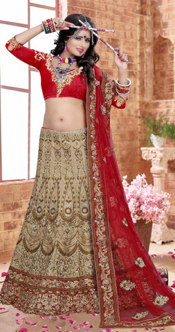 Beige Color Silk  Zari,Resham,Mirror,Diamond & Heavy Lace Border Work Semi Stitched  Lehenga Choli