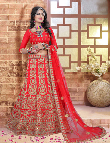 Red Color Silk  Zari,Resham,Mirror,Diamond & Heavy Lace Border Work Semi Stitched  Lehenga Choli