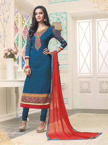 Blue Color Schiffli Georgette Embroidery Semi-Stitched Designer Dress Material
