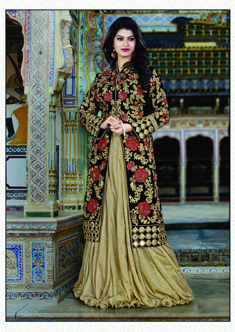 Beige Color Art Silk Embroidery Work Semi Stitched Indo Western Lehenga Choli