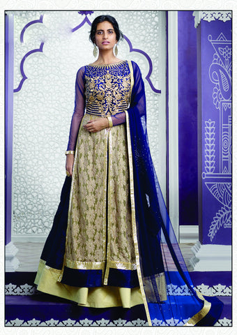 Navy Blue Color Raw Silk Embroidery Work Semi Stitched Indo Western Lehenga Choli