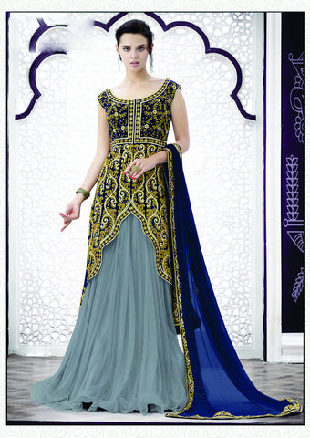 Grey Color Net Embroidery Work Semi Stitched Indo Western Lehenga Choli