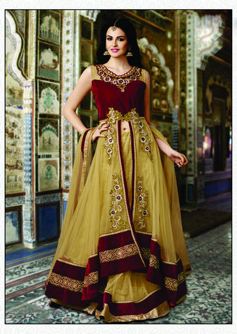 Beige Color Net Embroidery Work Semi Stitched Indo Western Lehenga Choli
