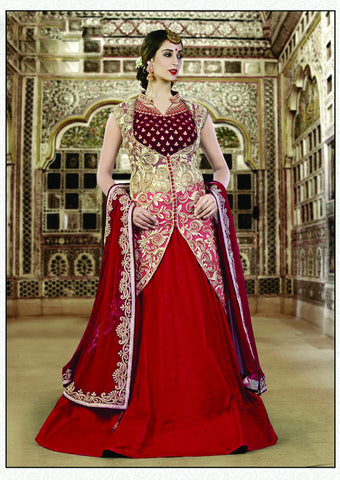 Crimson Red Color Raw Silk Embroidery Work Semi Stitched Indo Western Lehenga Choli