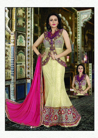 Cream Color Fancy Net Embroidery Work Semi Stitched Indo Western Lehenga Choli