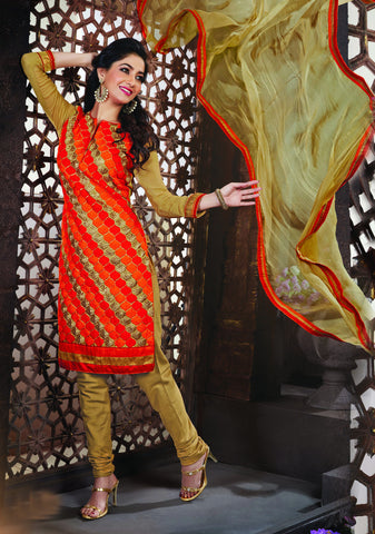 Orange,Red,Beige Color Net Embroidery Work Semi-Stitched Designer Dress Material