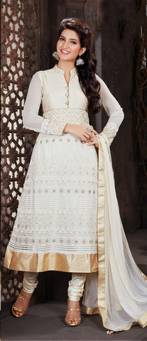 Off-White Color Net Embroidery Work Semi-Stitched Designer Anarkali Suit
