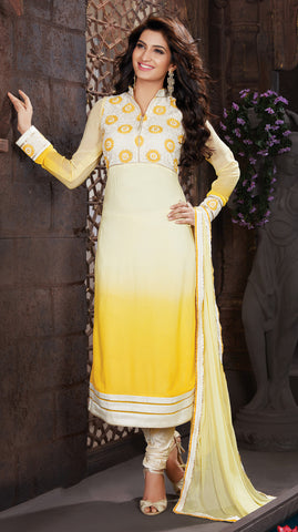 Light Yellow & Yellow Georgette Embroidery Work Semi-Stitched Designer Dress Material.