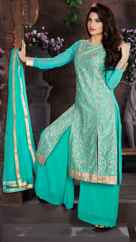 Sea Green Color Net Embroidery Work Semi-Stitched Designer Dress Material