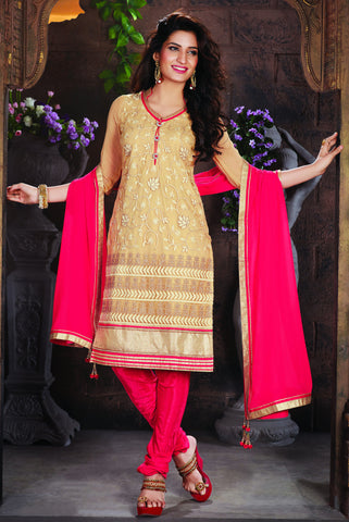 Beige Color Net Embroidery Work Semi-Stitched Designer Dress Material