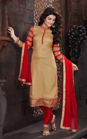 Beige Color Shimmer Jacquard Embroidery Work Semi-Stitched Designer Dress Material
