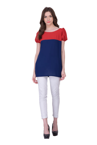 Red & Blue Colored Georegette Top