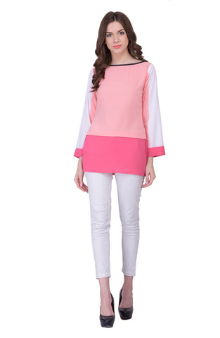 Pink & White Colored Georegette Top