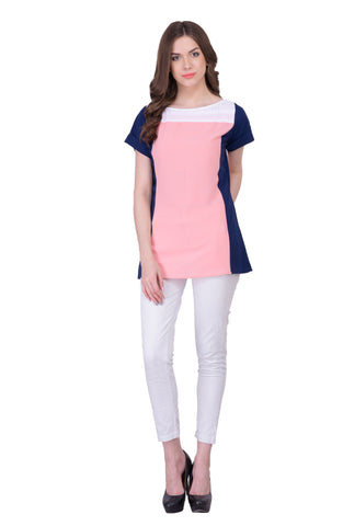 Pink, Blue & White Colored Georegette Top