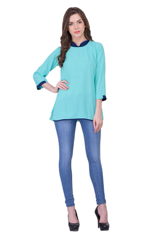 Aqua Blue Colored Georegette Top