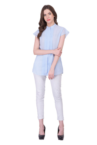 Ice Blue Colored Georegette Top