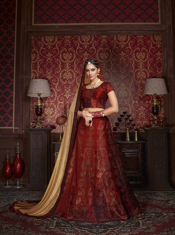 Maroon Color Silk Heavy Stone Work Work Semi Stitched Lehenga Choli