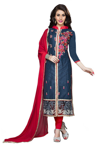 Navy Blue Color Cambric Cotton Embroidery Work Designer Dress Material