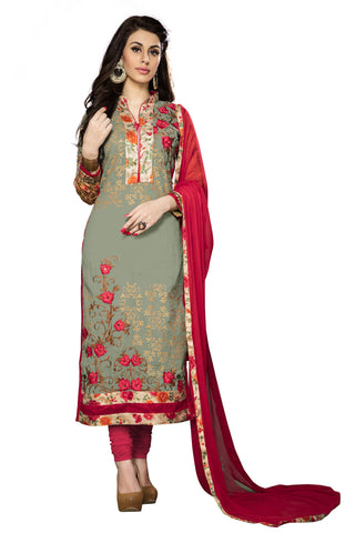 Safari Green Color Cambric Cotton Embroidery Work Designer Dress Material