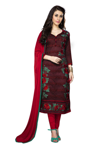 Maroon Color Cambric Cotton Embroidery Work Designer Dress Material