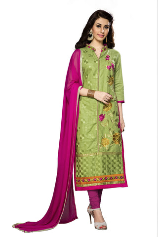 Green Color Cambric Cotton Embroidery Work Designer Dress Material