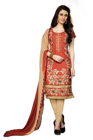 Orange Color Cambric Cotton Embroidery Work Designer Dress Material