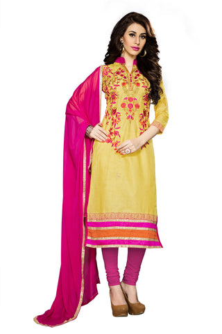 Yellow Color Cambric Cotton Embroidery Work Designer Dress Material