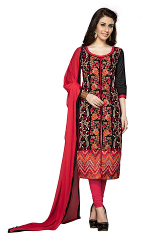 Black Color Cambric Cotton Embroidery Work Designer Dress Material