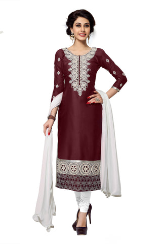 Burgandy Color Cambric Cotton Embroidery Work Designer Dress Material