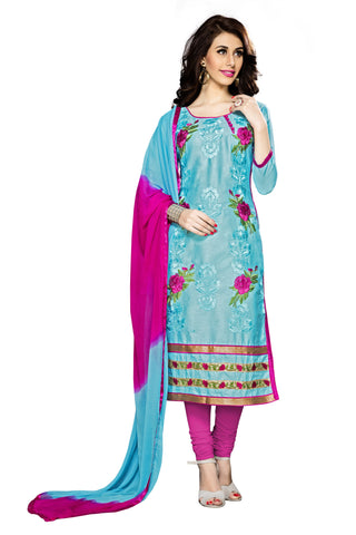 Sky Blue Color Cambric Cotton Embroidery Work Designer Dress Material