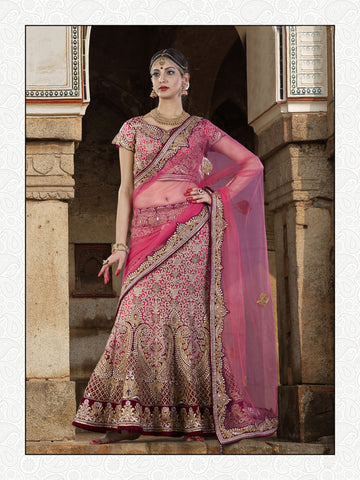 Brink Pink Color Velvet, Silk Embroidered And Stone Work Semi Stitched Lehenga Choli