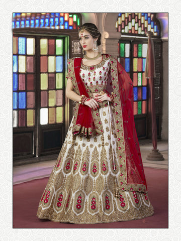Off White Color Silk Embroidery And Stone Work Semi Stitched Lehenga Choli