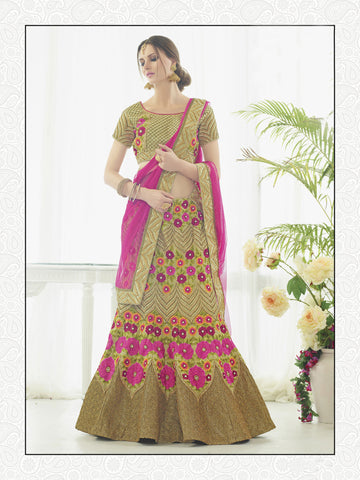 Sand Gold Color Silk Embroidery And Stone Work Semi Stitched Lehenga Choli