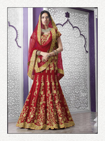 Crimson Red Color Silk & Net Embroidery And Stone Work Semi Stitched Lehenga Choli